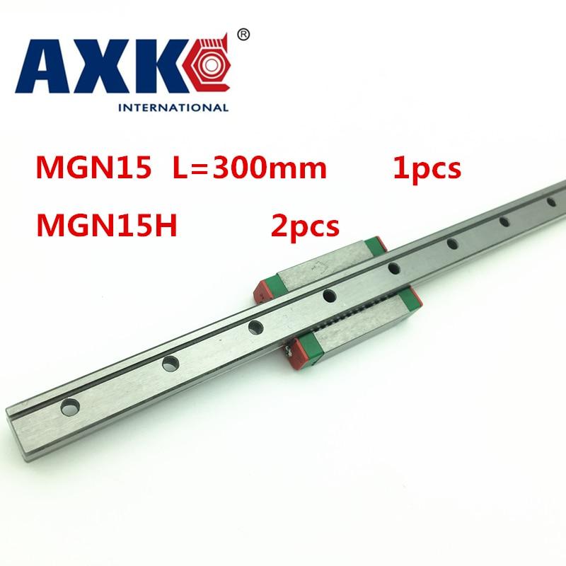 Cnc Router Parts AXK New 15mm Miniature Linear Guide Mgn15 L= 300mm Rail + 2pcs Mgn15h Cnc Block For 3d Printer Parts Xyz цена