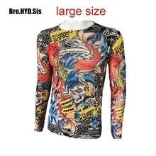 Fashion Men's Fake Tattoo T-shirts Long Sleeve Elastic Modal Thin All Over Print O-Neck Tattoo Shirts Halloween Clothing Large