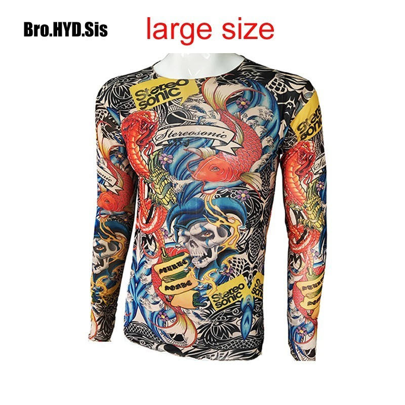 Fashion Men's Fake Tattoo T-shirts Long Sleeve Elastic Modal Thin All Over Print O-Neck Tattoo Shirts Halloween Clothing Large