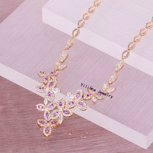 N200878 New zircon crystal flower necklace zinc alloy rose gold plated silver plated with austria crystal fashion women jewelry