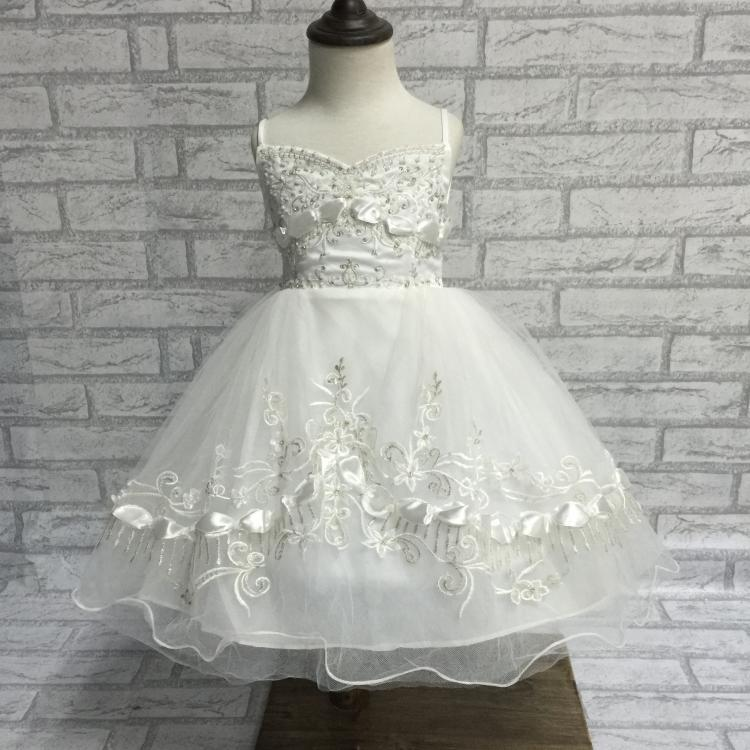 Free Shipping 3-8 Years Girls Princess Gown 2018 New Arrival Child Party Dress Embroidery White Flower Girl Dresses For Weddings free shipping 2 12 years one shoulder kids party dress 2018 new arrival pageant ball gown for girls flower girl dresses factory