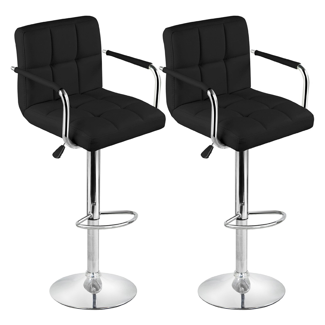 Black Bar Stool Chairs Chair Stand For Exercise Ball Aliexpress Buy 2 Faux Leather Kitchen Breakfast