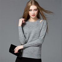 Fashion Hollow Out Women T Shirt Sweater 2018 Solid Gray Cotton Female T shirt O neck Winter T shirt Woman Long Sleeve Top Tee