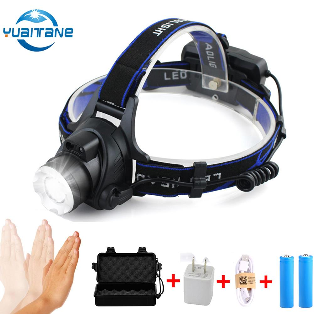 USB IR Sensor 10000lums LED Headlamp L2/T6 Waterproof LED Headlamps Head Lamp By 18650 Rechargeable Battery headlight Head Torch