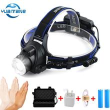 USB IR Sensor  LED Headlamp L2/T6 Waterproof LED Headlamps Head Lamp By 18650 Rechargeable Battery headlight Head Torch for Camp