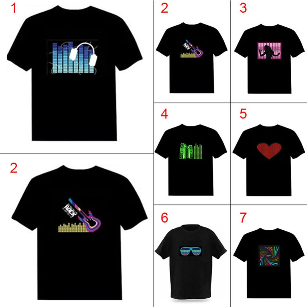 Los hombres de sonido activado LED de camiseta luz abajo intermitente Camisetas Rock fiesta de discoteca DJ Tops Tee T camisa de los hombres, Camisetas de Hombre