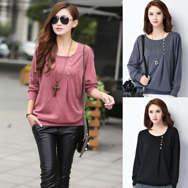 New Fashion 2017 Shirt Women Casual Loose Summer Tops And Blouses O Neck Long Batwing Sleeve Button Solid Blouse Women Clothing