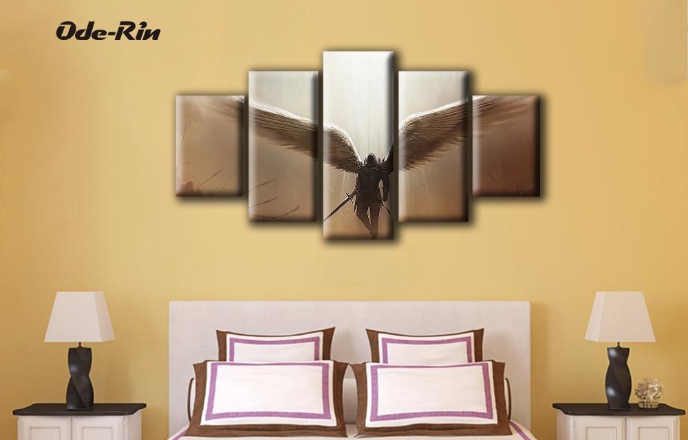 Ode Rin 5 piece canvas art Rimless wall art Game characters ...
