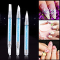 Hot item! 3Pcs Rhinestone Handle Nail Art Pens Nail Carving Tool Silicone Head Brushes