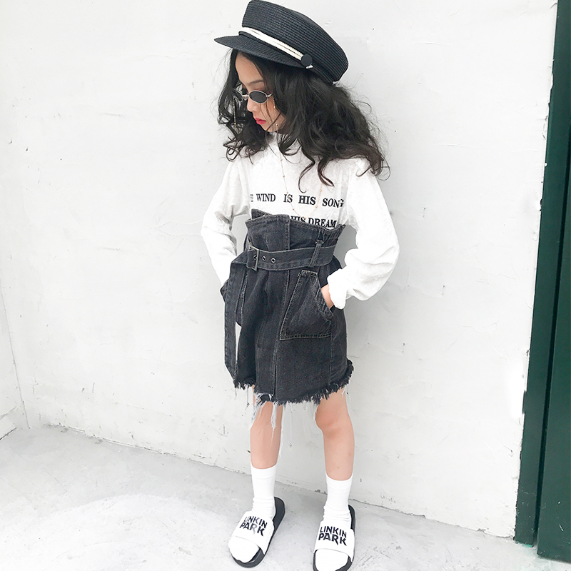 Girls skirt 2018 autumn new girls denim skirt irregular skirt fashion skirt tide