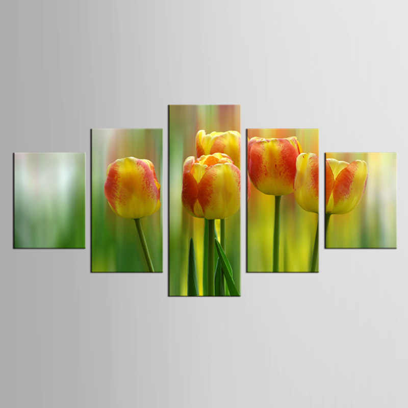 5 pieces/set Modern Minimalist Plant Flower Tulips Photo Art Prints Poster Wall Picture Canvas Painting Home Deco