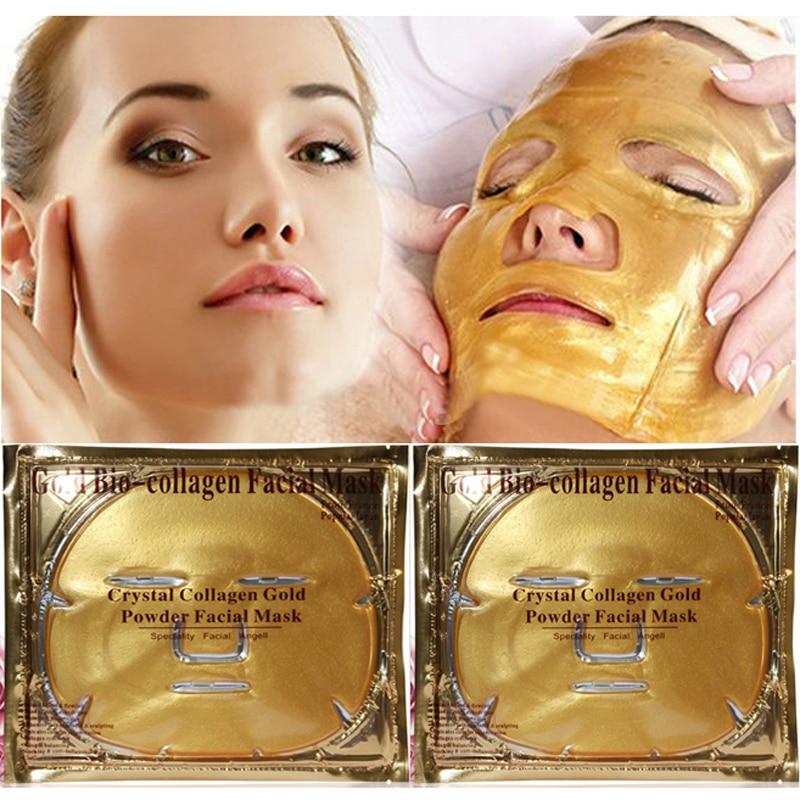 5 unids/lote 24 k oro biocolágeno máscara Facial vitamina blanqueamiento máscara Facial cristal oro polvo máscara hidratante Anti -envejecimiento