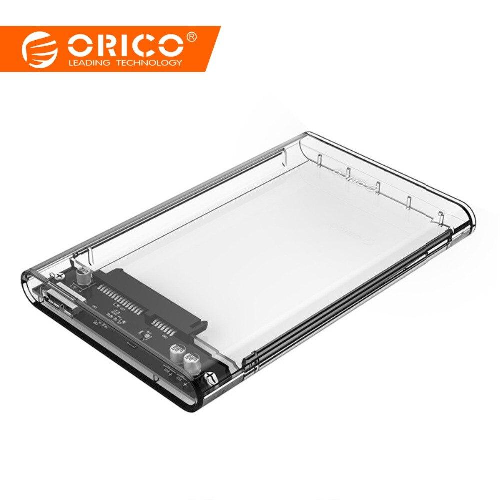 ORICO 2139U3 transparente de 2,5 pulgadas caso HDD Sata a USB 3,0 adaptador de alta velocidad de la caja de disco duro carcasa para Samsung seagate SSD