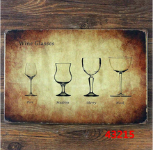 Vintage home decor kitchen wall art metal tin sign – Various sizes of wine glasses tin sign for home bar pub wall art decoration