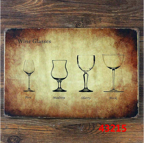 Vintage home decor kitchen wall art metal tin sign - Various sizes of wine glasses tin sign for home bar pub wall art decoration
