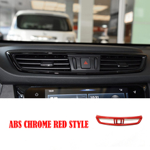 ABS Chrome Red Style Car Front Air Condition outlet Vent Switch frame Cover Trim for Nissan X-TRAIL T32 2014 - 2019 accessories цена в Москве и Питере
