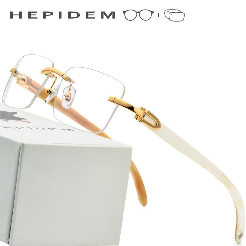 6be3c913883b0 Óculos de Armação Homens 2018 Nova Squared Óculos Sem Aro de Alta Qualidade  Praça Chifre de