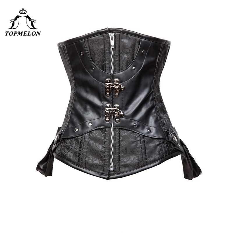 TOPMELON Steampunk Underbust Corselet   Corset   Women   Bustier   Gothic   Corsets   Punk Rivet   Corset   Black Retro Party   Corset   Tops 6XL