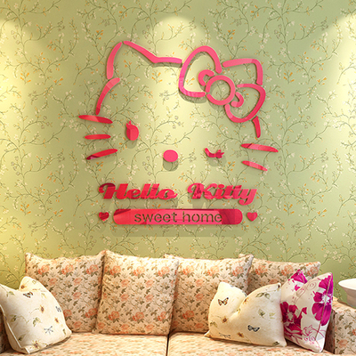 KT Cat Hellokitty Childrens Room Acrylic 3D Wall Stickers, Picture Cartoon Bedroom, Bedside, Sofa Background, Restaurant, Glass ...