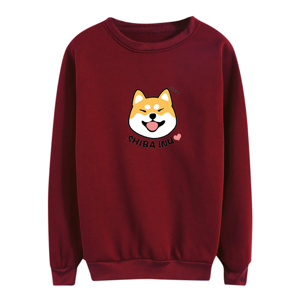 Winter Womens Harajuku Kawaii Shiba Inu Pattern Print Sweatshirt Casual O-neck Clothes Loose Hoody Female Pullover Sweatwear