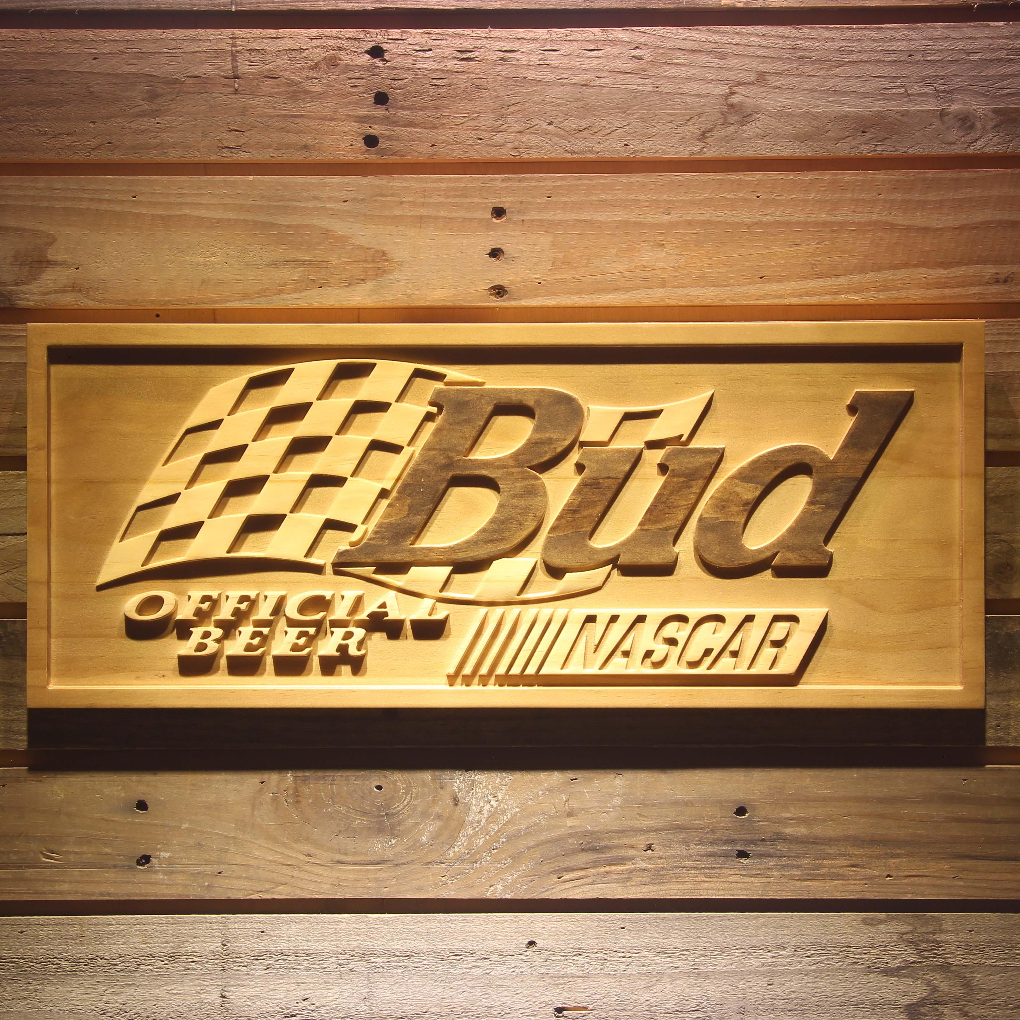 Bud x NASCAR Beer 3D Wooden Bar Sign