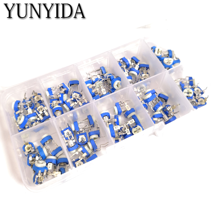 100PCS/LOT 10 Values *10PCS RM065 Vertical Adjustable Resistor Kit In Box 500 Ohm-1M Ohm  Multiturn Trimmer Potentiometer Set