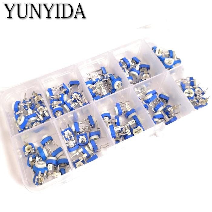 100PCS/LOT 10 Values *10PCS RM065 Vertical Adjustable Resistor Kit In Box 500 Ohm-1M Ohm  Multiturn Trimmer Potentiometer Set