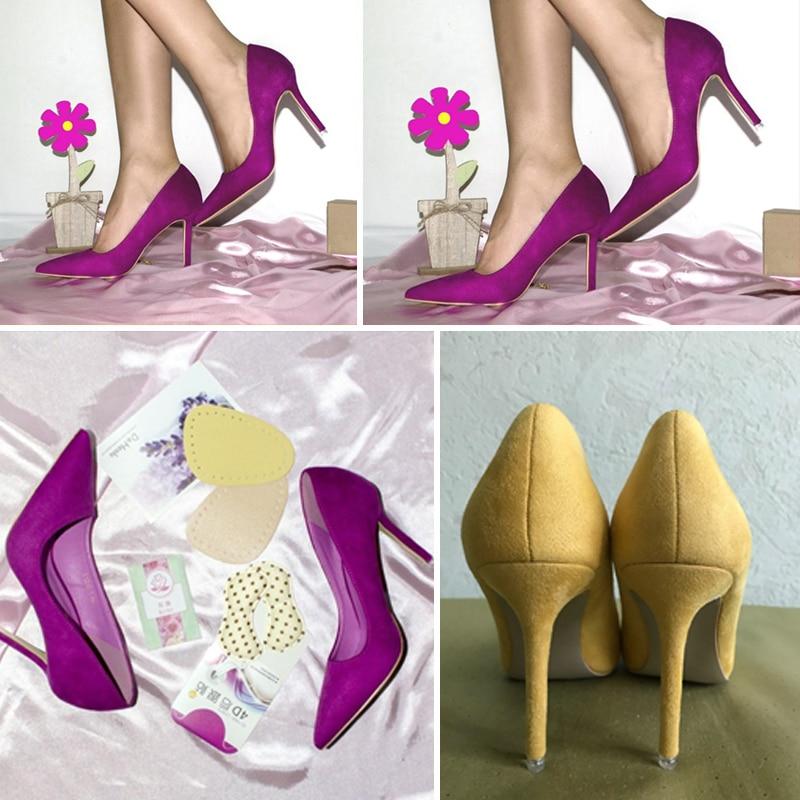 {D&Henlu}Women Shoe Purple Shoes Heel Woman Flock High Heels Women Pumps Ladies Office Shoes Pointed Toe Summer Heels 10