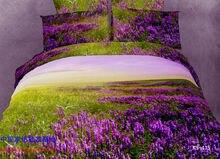 Beautiful comforters sets bedding comforter set queen size purple print 3D duvet quilt cover bed 100% cotton 4pcs scenery стоимость