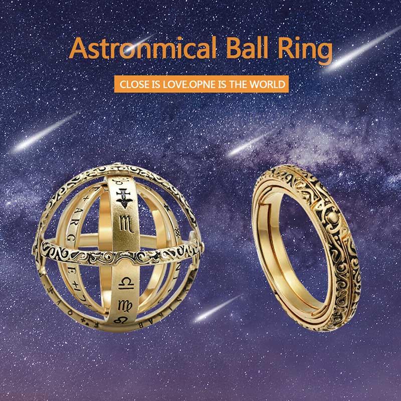 Anel de bola esfera astronômico aberto medalhão cósmico dedo anel casal amante jóias presentes para mulher masculino acessórios