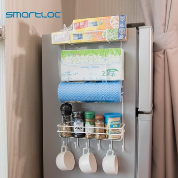 smartloc 4 Layers Iron Refrigerator Side Rack Organizer Containers Caster Shelf Suction Cup Box Kitchen Tools Accessories image