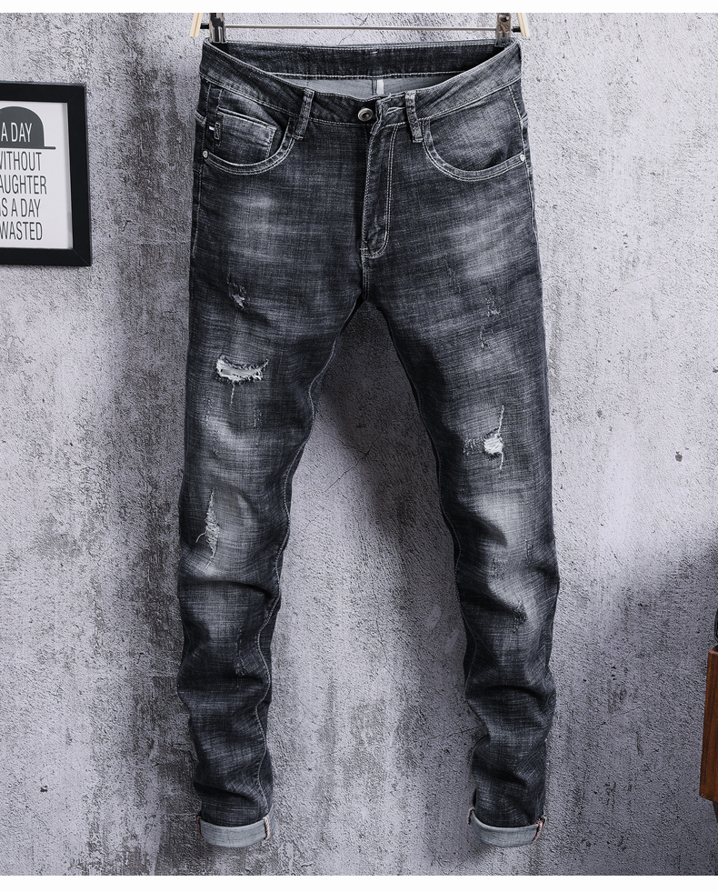 KSTUN Jeans Men Summer Skinny Hip Hop Biker Ripped Jeans Mens Slim fit Casual Stretch Black Grey