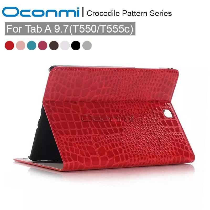 Haute qualité Crocodile Portefeuille en cuir case pour Samsung Galaxy Tab A 9.7 pouces nouvelle couverture pour SM-T550 SM-T555 tablet case