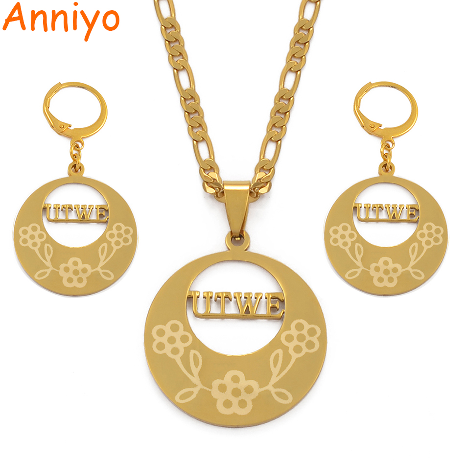 Anniyo UTWE Kosrae Necklace Earrings Marshallies Jewelry set Trendy Gold Color Jewellery for Women (Can Not Customize) #037221