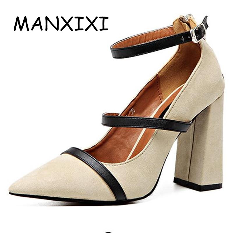 ФОТО 2017 New Women High Heels Shoes Suede Shallow Mouth Pumps Crude Heel Ankle Buckle Pumps High-Quality Suede Casual OL Work Shoes