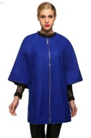 MwOiiOwM Women Fashion Loose Wool Blend Round Neck 3/4 Batwing Sleeve Solid Zip Up Long Coat Blends