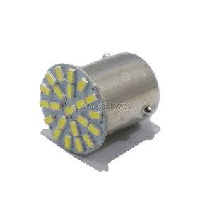 Image 1 - 500 stücke Neue BA15S P21W 1156 22 LED SMD Auto Auto Schwanz Seite Anzeige Lichter Birne Weiß 3014 DC 12V für auto