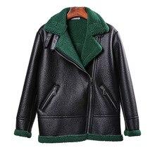 Jacket Coat Sheepskin-Coats Lamb Collar Shearling Faux-Fur Long-Sleeve Winter New Turn-Down