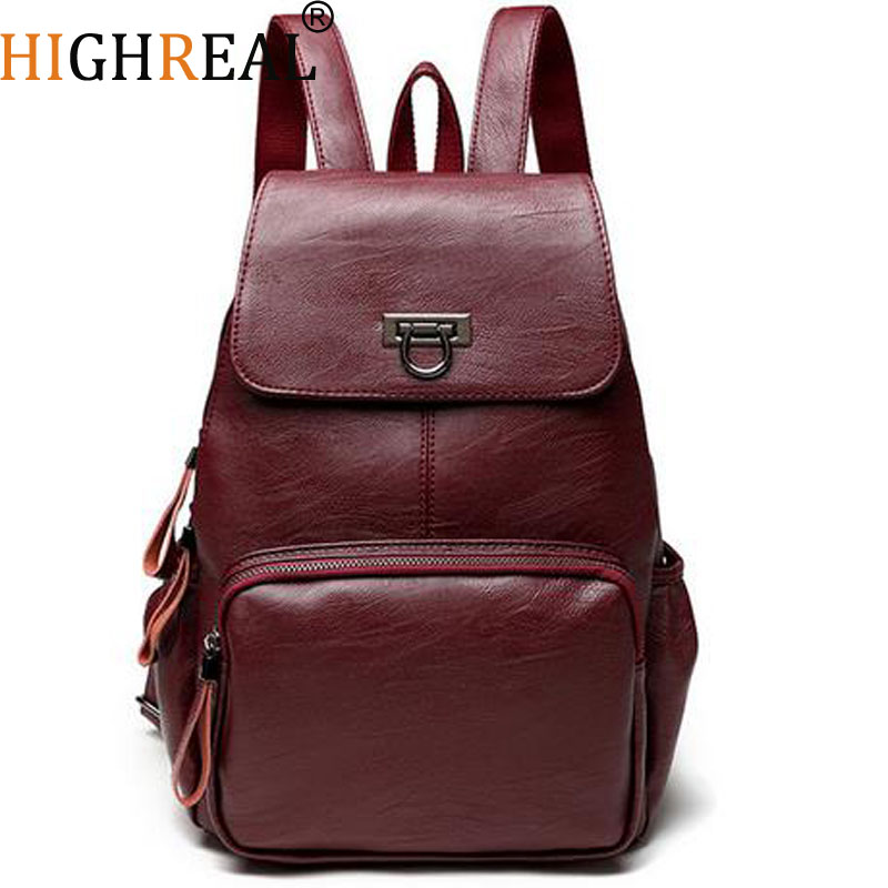 Designer Women's Backpacks Genuine Leather Female Backpack Women School Bag For Girls Large Capacity Shoulder Travel Mochila 2017 brand designer women simple style backpack fashion pu leather black school bag for girls large capacity shoulder travel bag