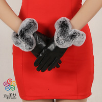 Eldiven Real 2017 New Ladies Leather Gloves With Velvet Warm Autumn And Winter Female Rabbit Hair Mouth Touch Factory Wholesale