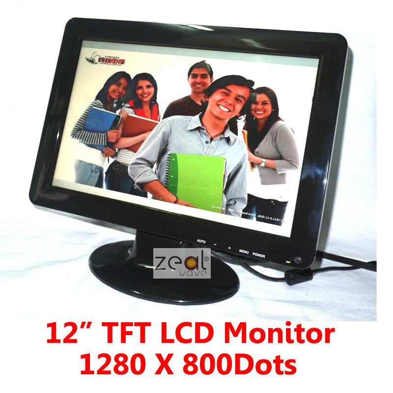 12 TFT LCD Monitor 1280 x 800 Pixels 16:10 + VGA Cable + Power Adapter buy tft monitor online