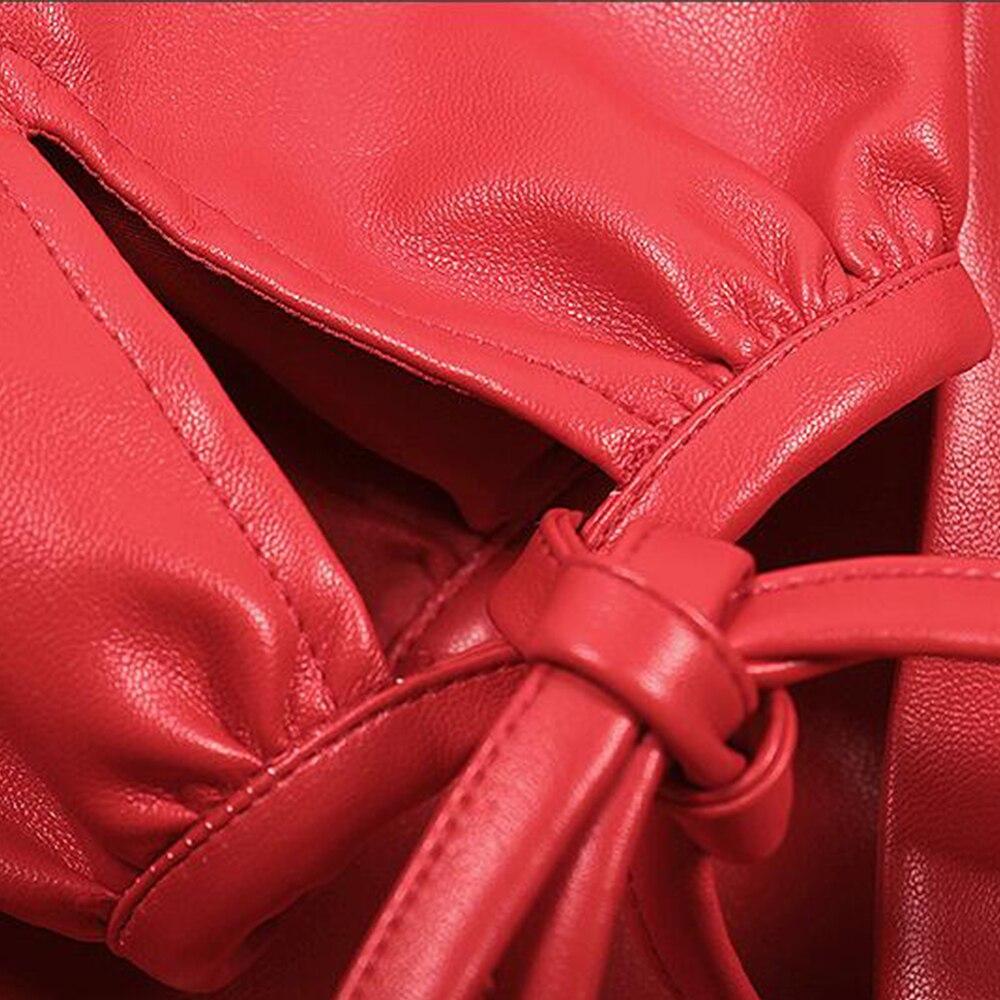 Nouveau Cuir Slim Hiver Ceintures Veste Solide Manteau Coréenne 2018 En Faux Pu Long Mode Manches Outwear À Rouge Femmes Longues Lxmsth 5WASxBcx