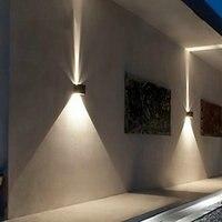 LED 12 w אור הקיר חיצוני עד למטה IP65 עמיד למים לבנים שחור מודרני מנורות קיר מנורת קיר גופי 220 V 110 V החיצוני בית תאורה