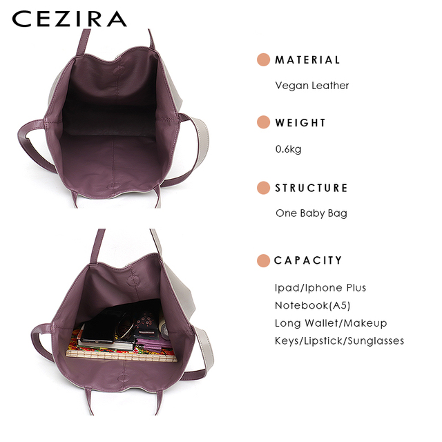 CEZIRA Vegan Leather Casual Fashion Tote Handbags for Girls Two Color Reversible Soft Large Women Shoulder Bag Bucket Handy Bags 4