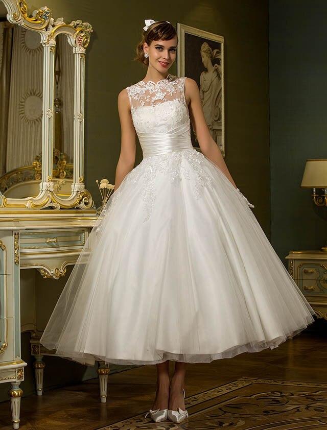 Vintage Ankle Length Wedding Dresses 2016 Vestido De Noiva Elegant Lace A Line Princess Ball Gown Bridal Dress Plus Size New In From