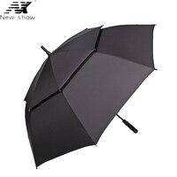 NX Large golf umbrella Windproof double layer 135cm glass fiber man business Advertising sun rain long umbrella men wholesale
