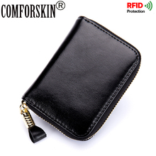 COMFORSKIN RFID Card Case 2017 Luxurious 100% Genuine Oil Wax Leather High Quality Multi-Card Bit Business Credit Holders