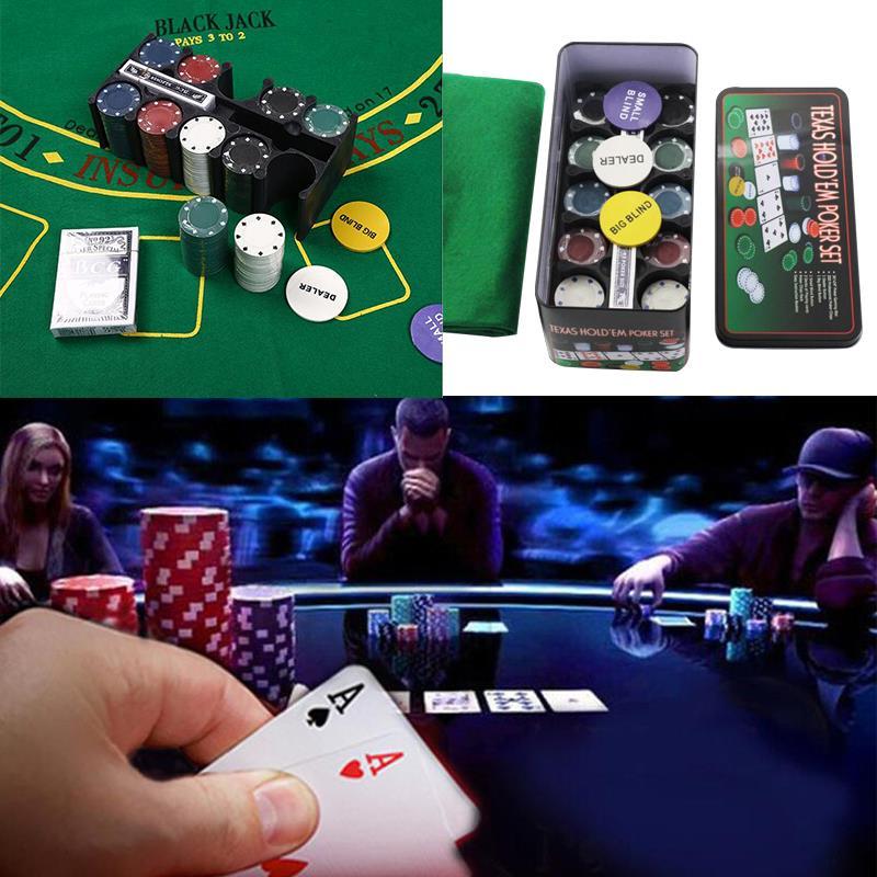 4G Poker Chips nappe concessionnaire cartes à jouer 200 pièces/boîte boîte de fer coloré amusant