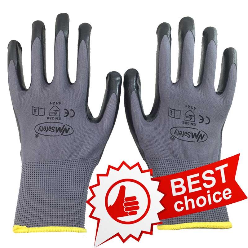 NMSafety 12 pares Luvas de segurança de trabalho revestidas com nitrilo preto, flexíveis e sensíveis
