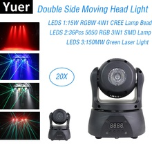 Double Side LED Mini Moving Head Light Strobe Wash Laser 3IN1 Stage Dj Lighting Effect Professional Party